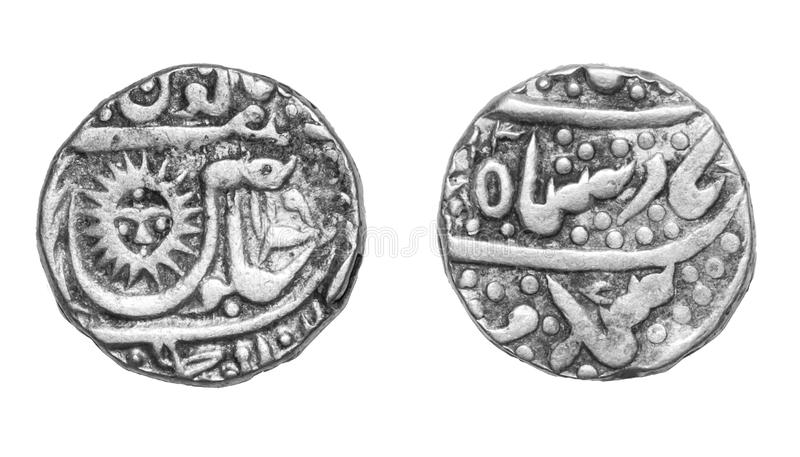 Silver Rupee Coin India. Silver Rupee Coin of Holkar Ruler Tukoji Rao of Indore Princely State of Central India dated 1877 AD royalty free stock photography