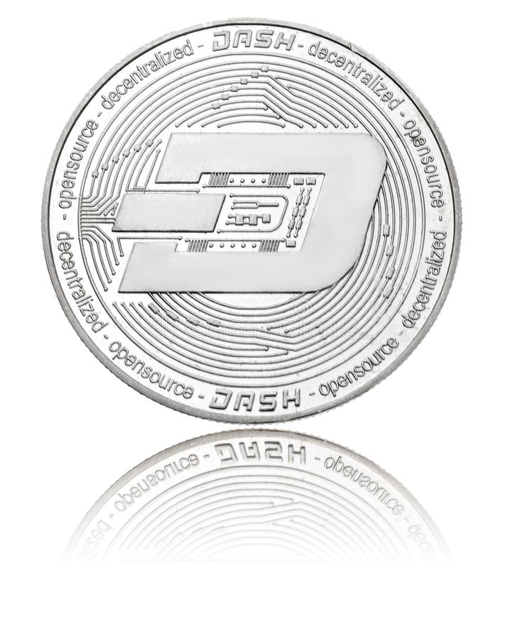Silver ryptocurrency coin - dash, isolated on a white stock image