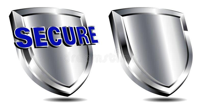 Silver säkrar skölden, spamen, antivirusskydd stock illustrationer