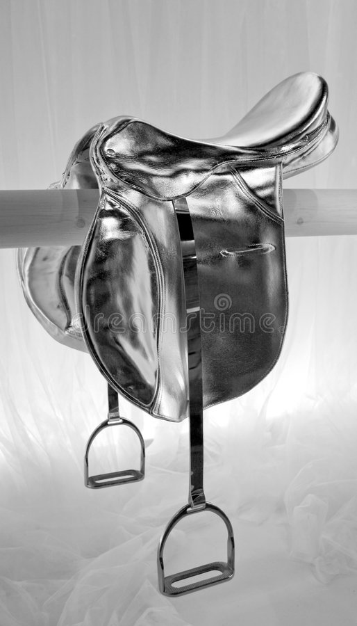 Silver saddle royalty free stock photography