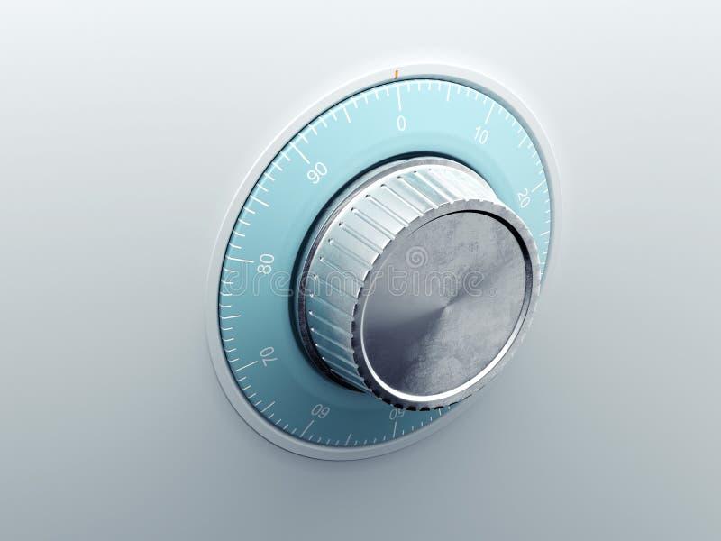 Silver safe dial. 3d rendering royalty free illustration