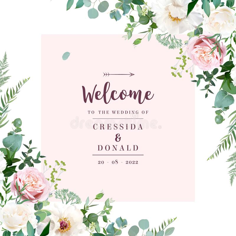 Free Silver Sage Green And Blush Pink Flowers Vector Design Frame Royalty Free Stock Photos - 175580138
