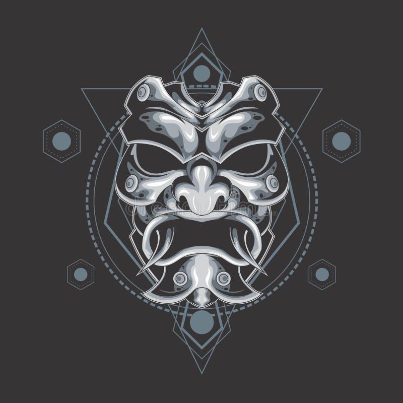 Silver samurai mask sacred geometry vector illustration
