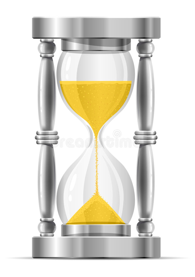 Silver Sand Glass Clock Royalty Free Stock Image
