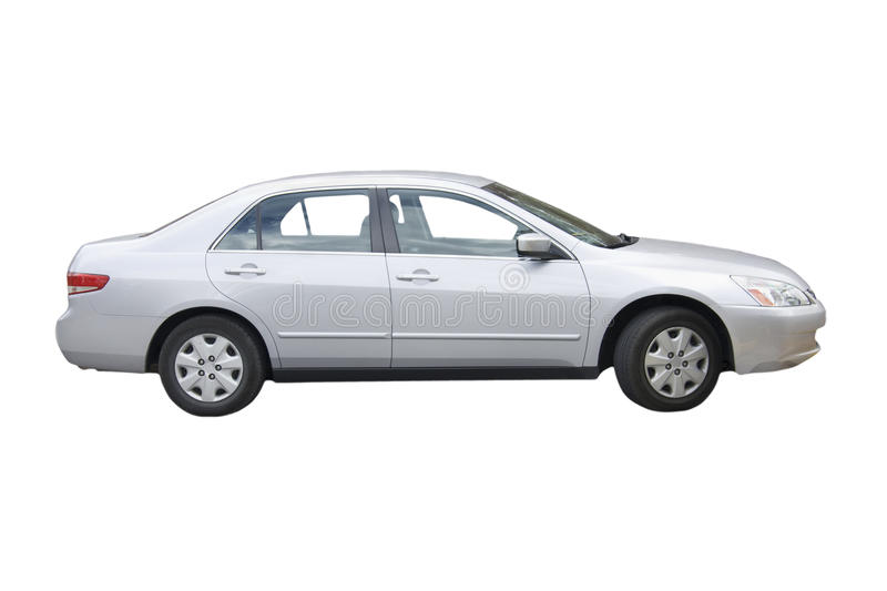 Silver sedan stock photography