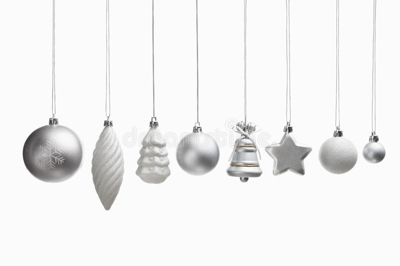Silver set of Christmas ornaments stock photo