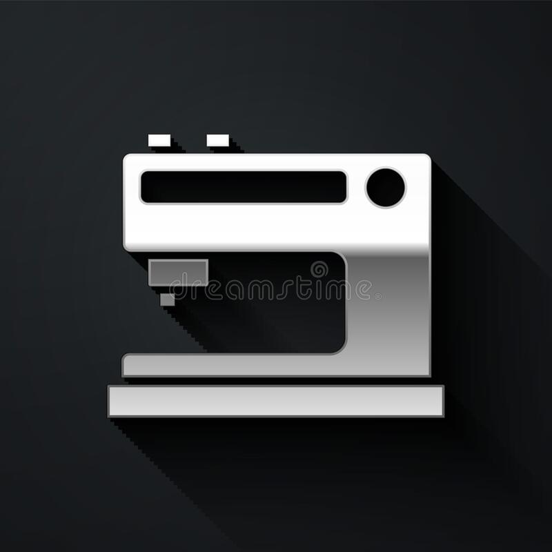 Silver Sewing machine icon isolated on black background. Long shadow style. Vector Illustration.  stock illustration
