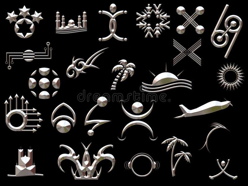 Silver shapes stock illustration