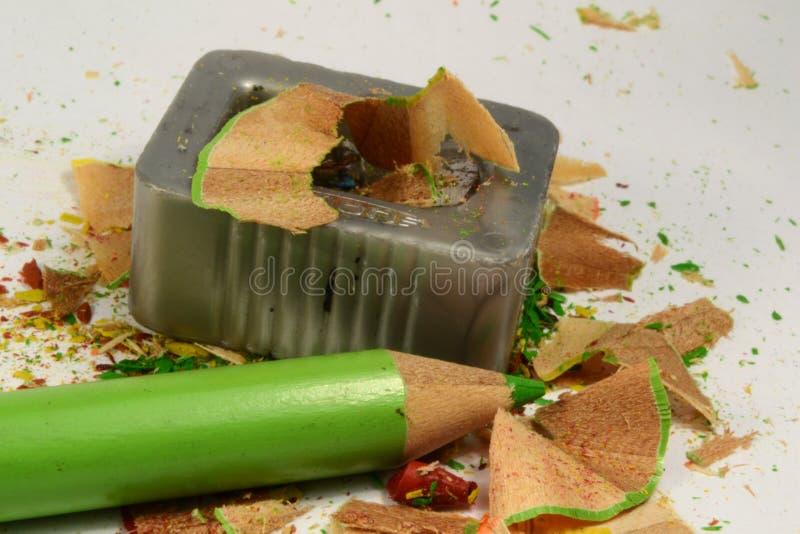 Sharpener and crayon stock image