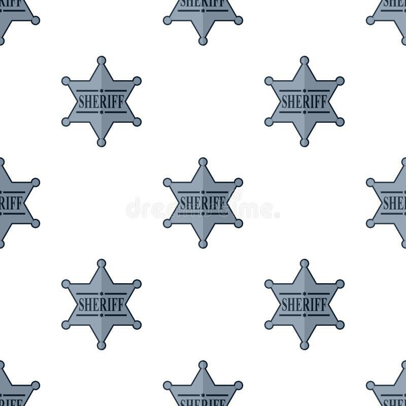 Silver Sheriff Star Badge Seamless Pattern vector illustration