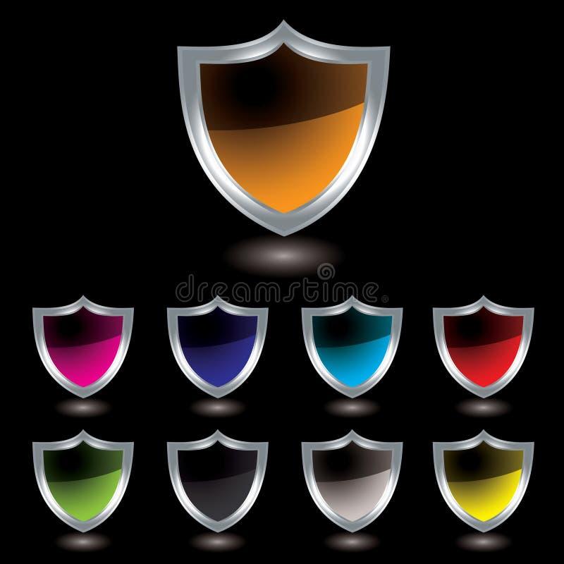 Silver Shield Black Stock Photo