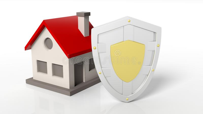 Shield House silver shield and house symbols stock illustration - image: 57976459