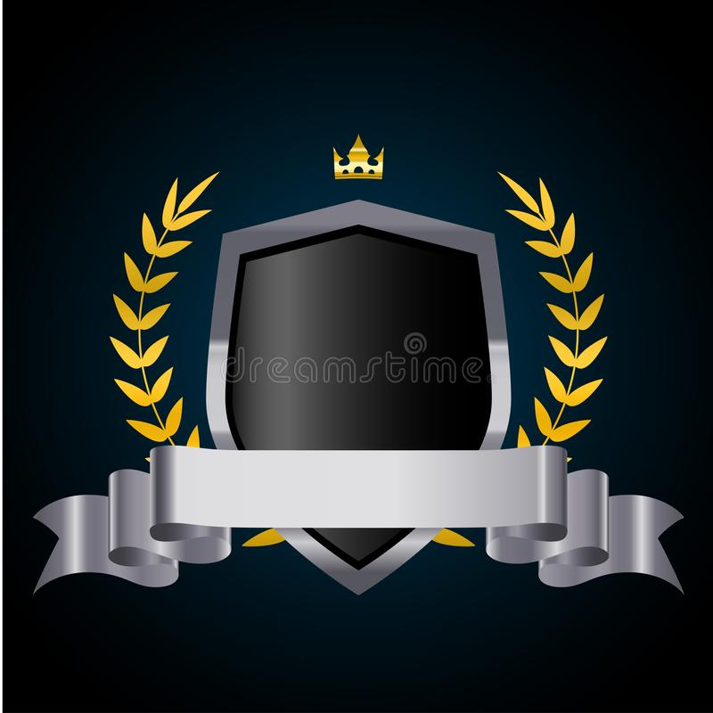 Silver shield with laurel wreath, crown and ribbon. Vector illustration vector illustration