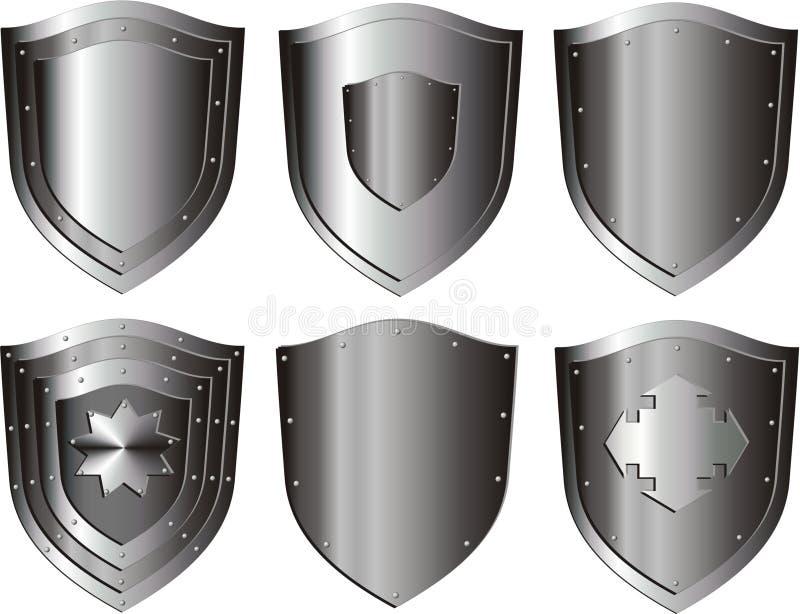 Silver shield set vector illustration