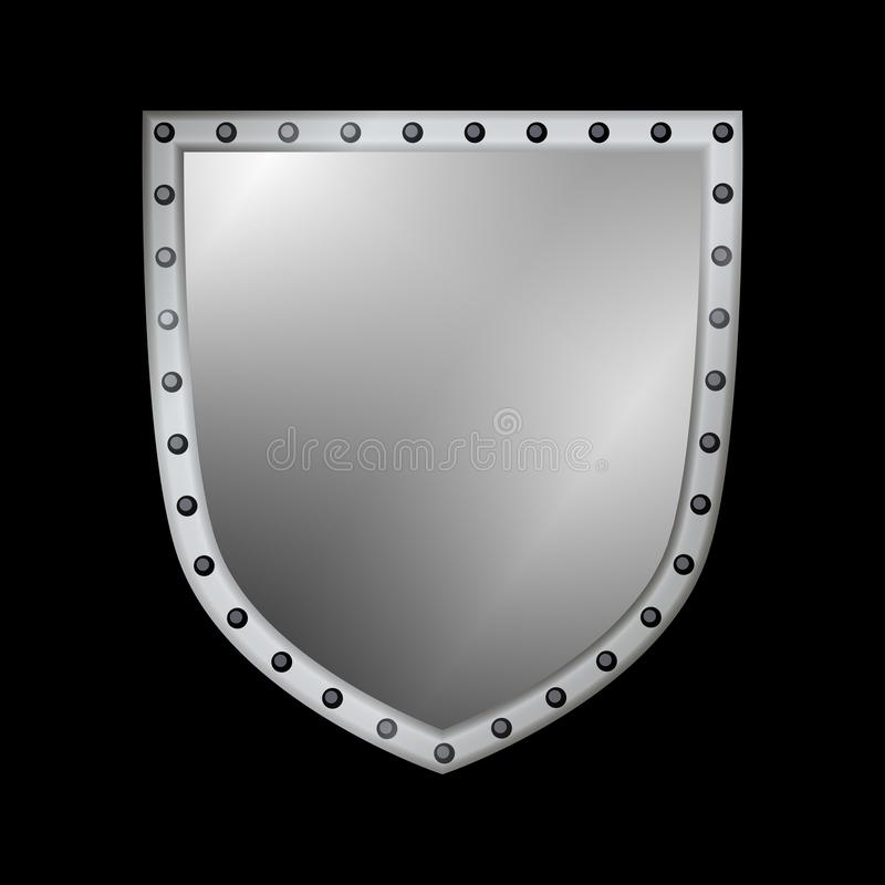 Silver shield shape icon. 3D gray emblem sign isolated on black background. Symbol of security, power, protection. Badge stock illustration
