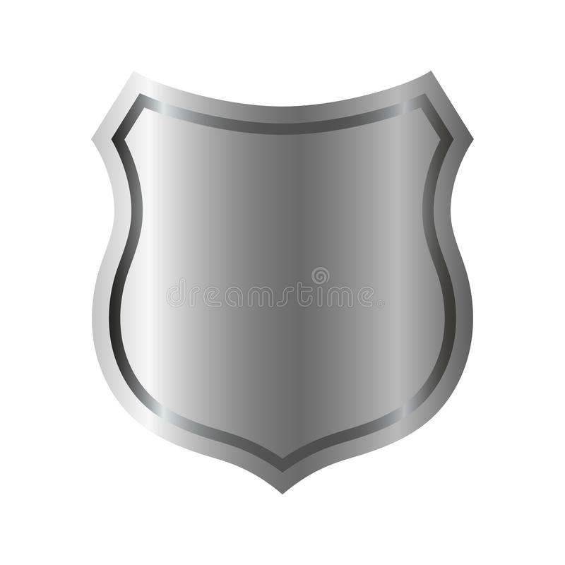Silver shield shape icon. 3D gray emblem sign isolated on white background. Symbol of security, power, protection. Badge stock illustration