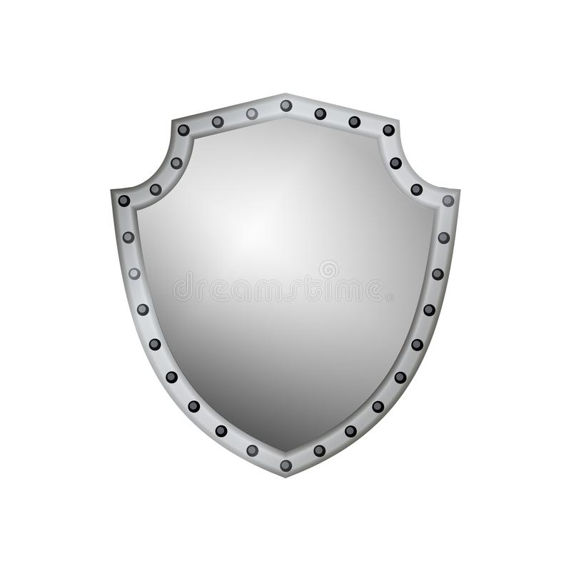 Silver Shield Shape Icon 3d Gray Emblem Sign Isolated On White