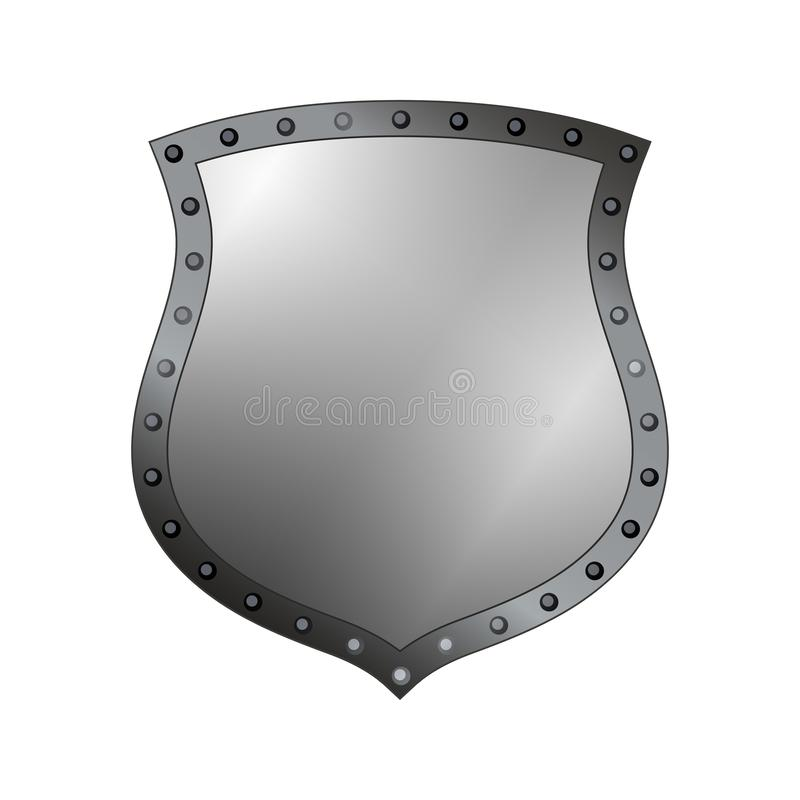 Silver shield shape icon. 3D gray emblem sign isolated on white background. Symbol of security, power, protection. Badge vector illustration