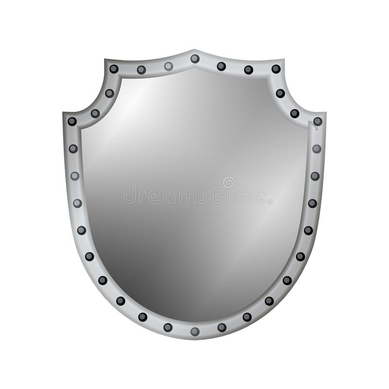 Silver shield shape icon. 3D gray emblem sign isolated on white background. Symbol of security, power, protection. Badge royalty free illustration