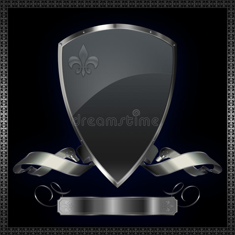 Silver shield with silver ribbon. vector illustration