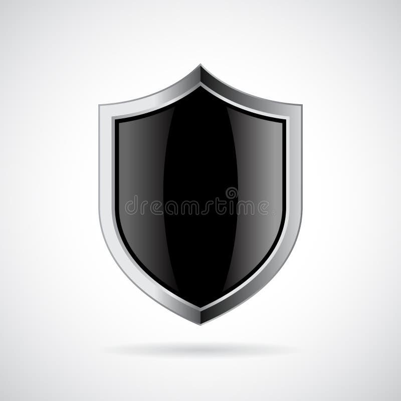 Silver shield vector icon stock illustration