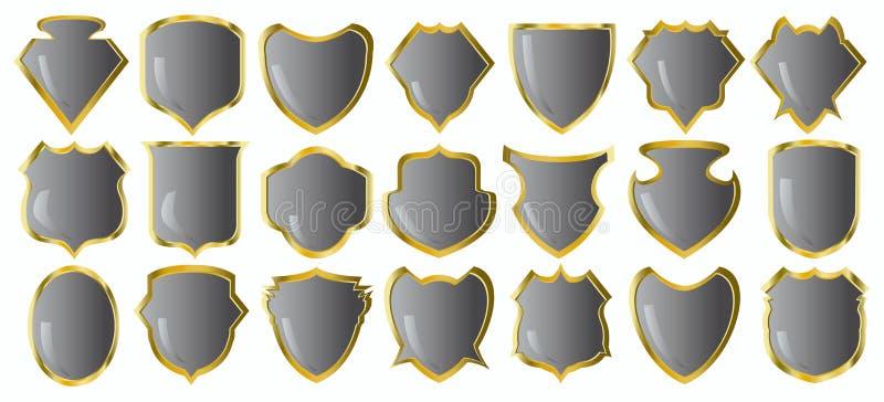 Silver shields royalty free illustration