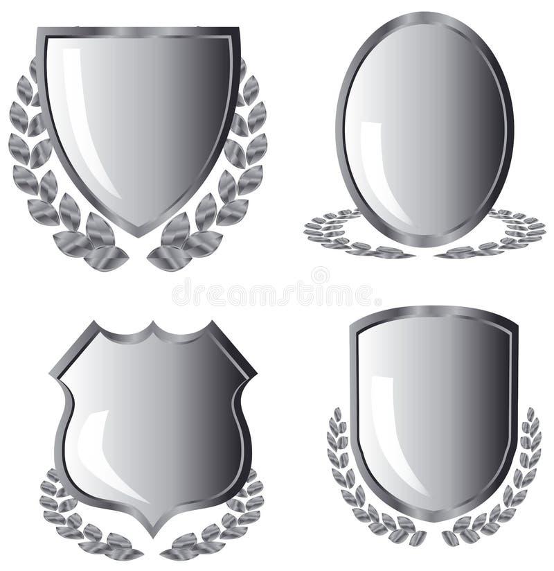 Silver shields vector illustration