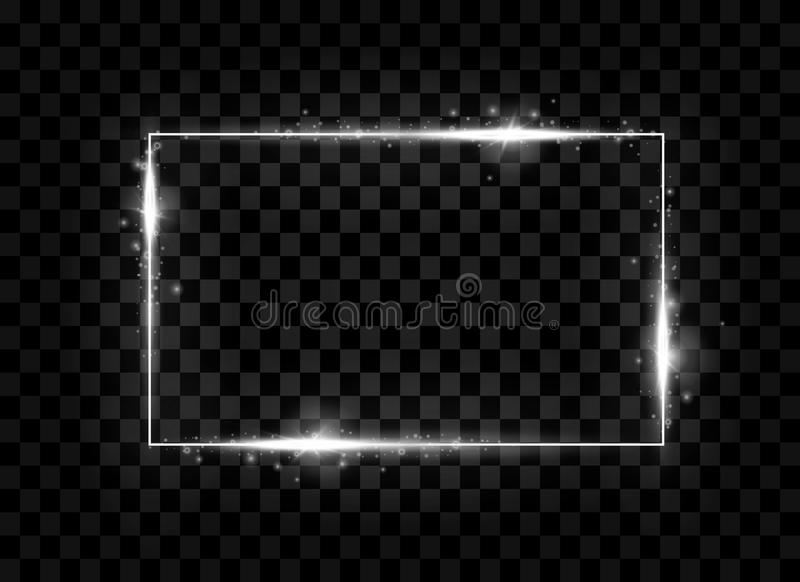 Silver shining square banner. Sparkle, glowing neon light effect. Vector illustration. Silver shining square banner. Light, sparkle, glowing effect. Glitter vector illustration