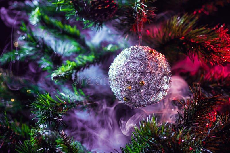 Silver shiny decoration Christmas balls stock photos