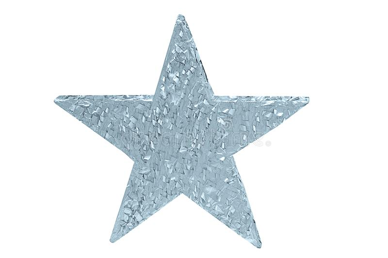 Silver shiny decorative star. White isolate royalty free stock photography
