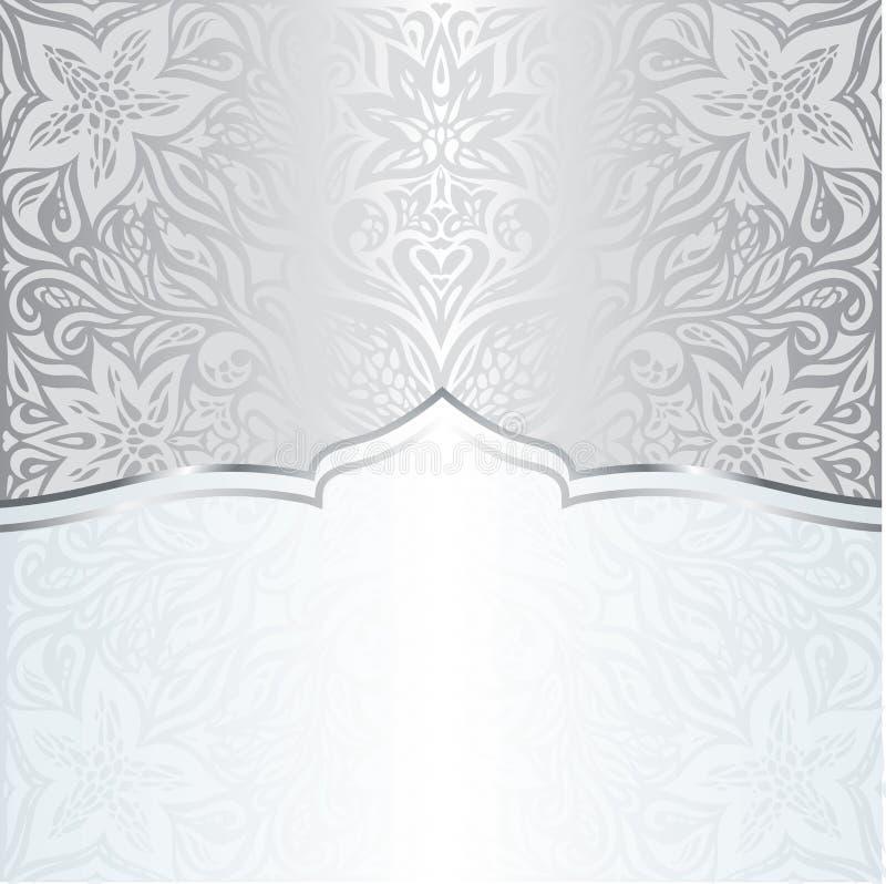 Silver shiny floral vintage pattern wallpaper background trendy fashion mandala design with copy space stock illustration