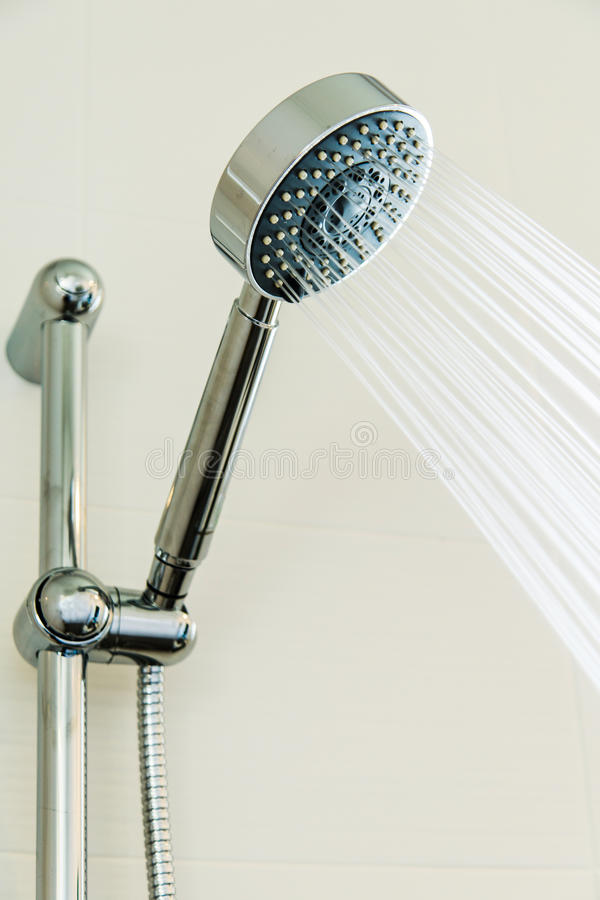 Download Silver Shower Head In Bathroom With Water Drops Flowing, Bathroom  Equipment Stock Image
