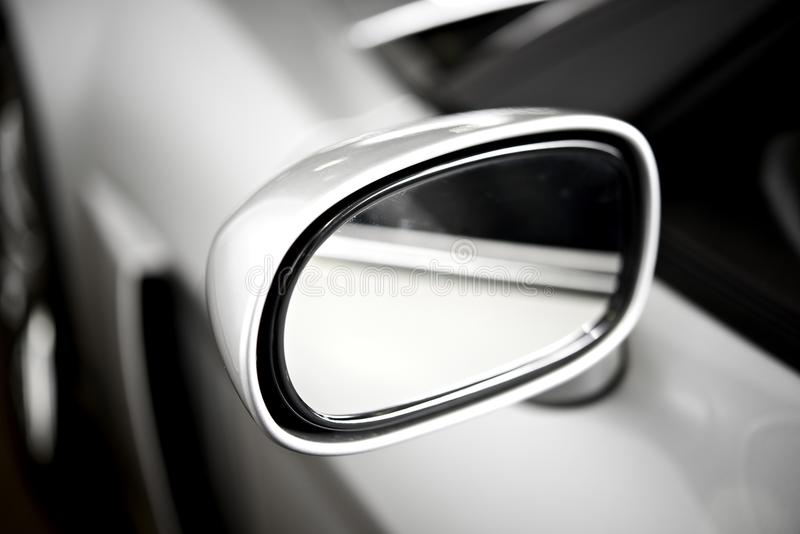 Silver Side Car Mirror. Super Car Silver Side Car Mirror. Car Safety Feature royalty free stock photography