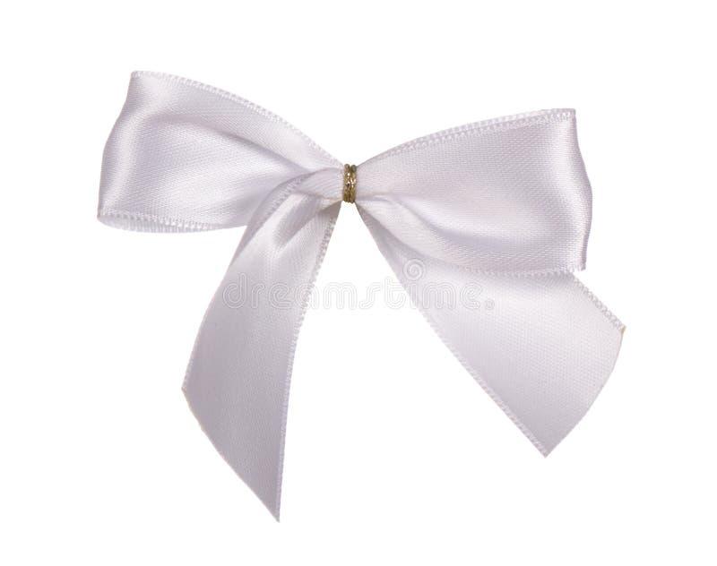 Silver silk bow stock photo
