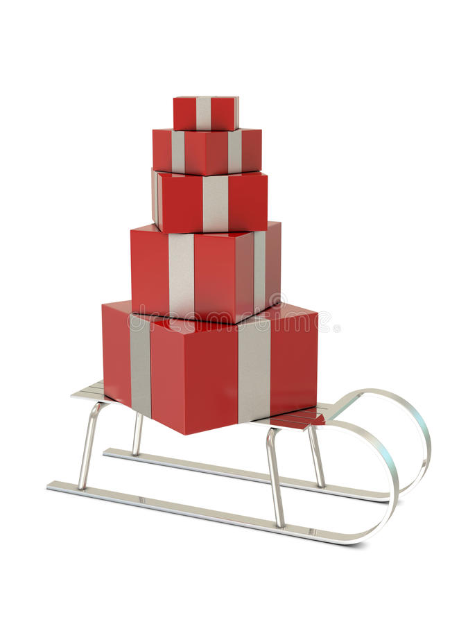 Silver Sled And Red Gift Boxes Royalty Free Stock Photography