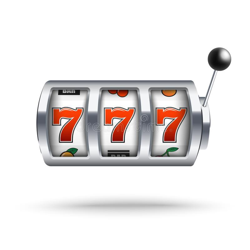Silver slot machine with lucky three sevens jackpot in realistic style isolated on white background. stock illustration