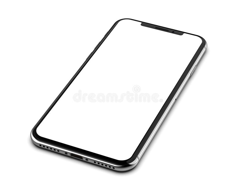 Silver smartphone with blank screen, isolated on white background. Silver smartphone with blank screen, isolated on white background royalty free stock photos