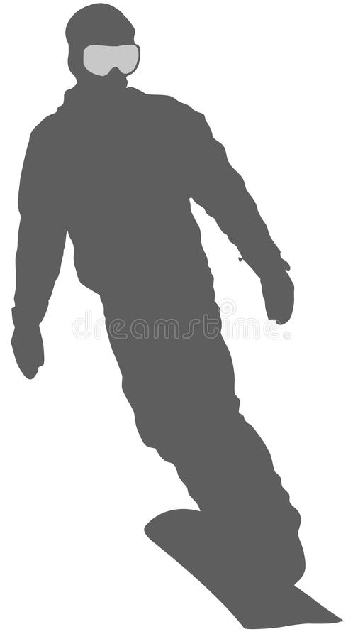 Silver Snowboarder Flat Icon on White Background royalty free illustration