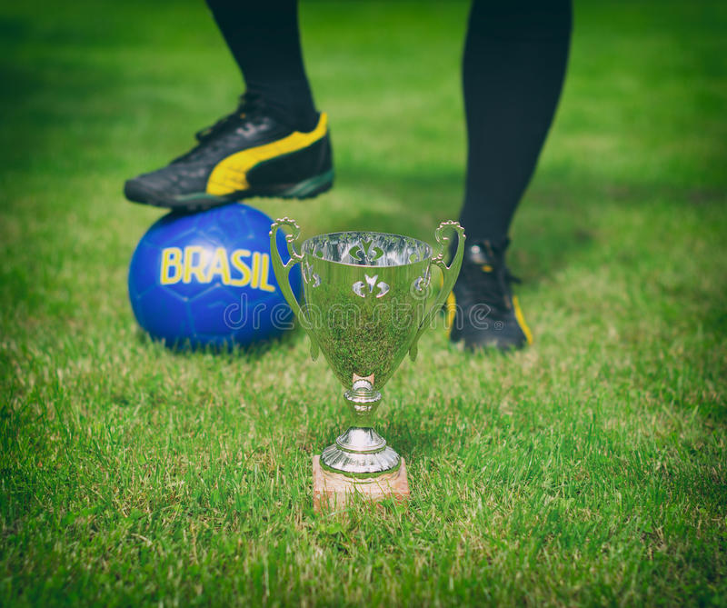Silver soccer trophy. royalty free stock images
