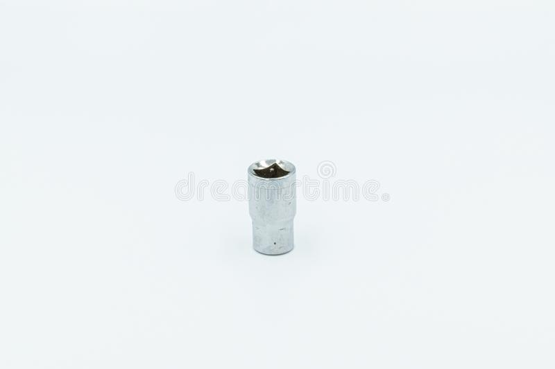 Silver socket wrench in a white studio stock photography