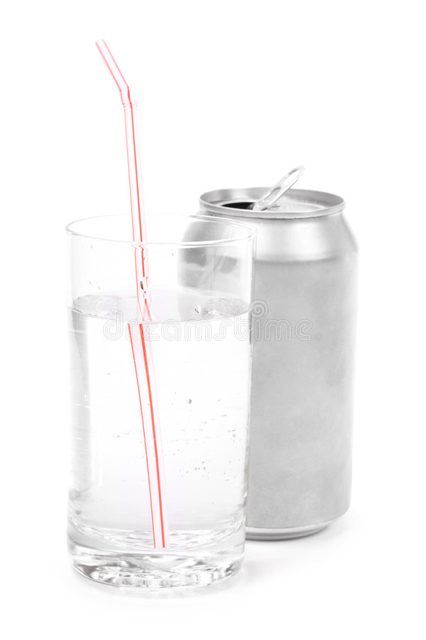 Silver soda can and glass stock photography
