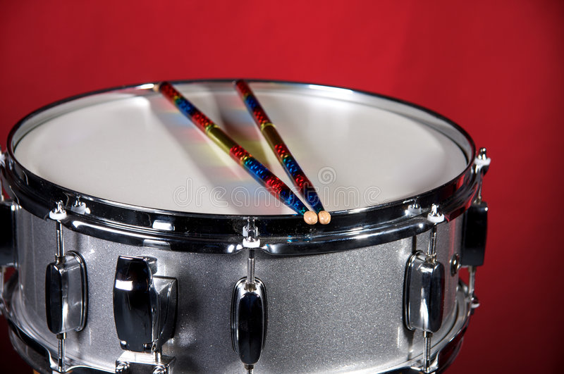 Download Silver Sparkle Snare Drum On Red Stock Photo - Image: 7110240