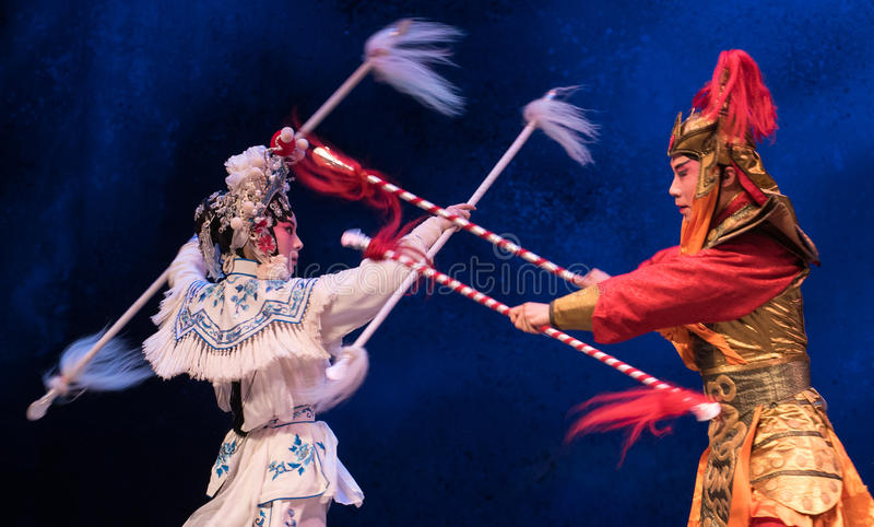 """Silver spear-The sixth act water overflows golden hill-Kunqu Opera""""Madame White Snake"""". Legend of the White Snake is one of the most famous tales stock photos"""