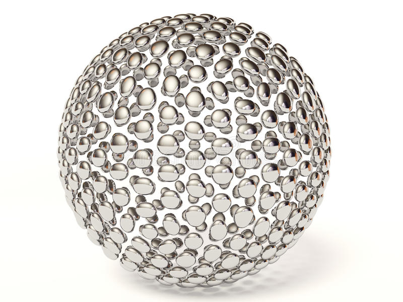 Silver sphere. On white background royalty free illustration