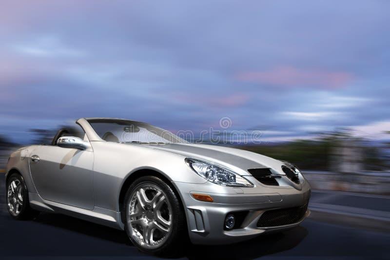 Silver sports car royalty free stock photo