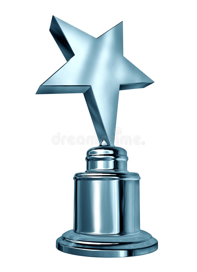 Silver Star Award. On a blank metal trophy isolated on white representing a first or second place prize as an icon of success and achievement, of a sports or vector illustration
