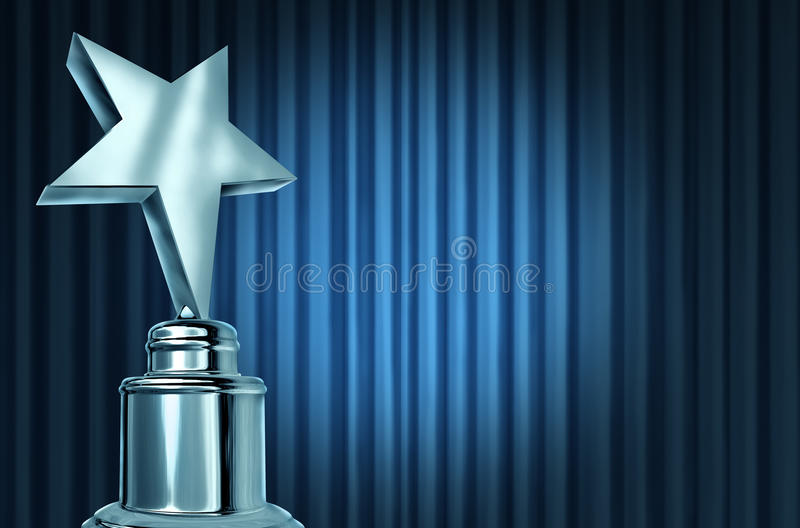 Silver Star Award On Blue Curtains. Or velvet drapes with a spot light representing an achievement trophy prize on a theater stage during an awards ceremony to royalty free illustration