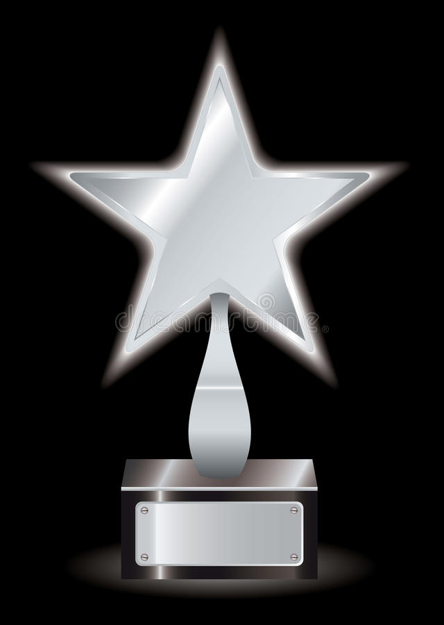 Silver star award trophy. Metal silver star award with space for your own text royalty free illustration