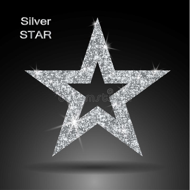 Silver Star Banner. Silver Glitter . Template , Card, Vip, Exclusive ...