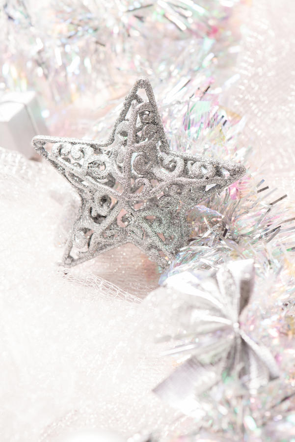 Silver star christmas decorations stock photo image of